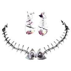 ANTONIO PINEDA Taxco 970 Sterling Fish Skeleton Necklace and Articulated Screwback Earrings