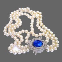 Unsigned Designer 3-Strand Creamy Pearl Necklace w/Sapphire and Pave Clasp