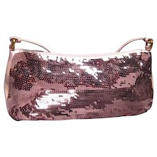 MIU MIU Pink Sequin, Blush Patent Leather Pochette Flap Handbag