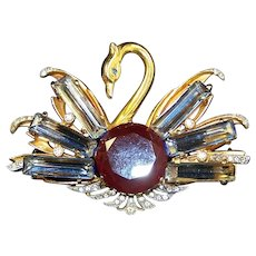 REINAD 1940's Red and Sapphire Crystals Huge Swan Pin/Pendant