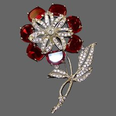 REINAD Pave and Ruby Demilunes Huge Flower Pin