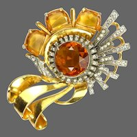 REINAD Massive Topaz, Citrine, and Clear Deco Pin