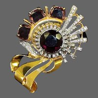 REINAD Massive Amethyst and Clear Crystal, Pave Rhinestones Deco Pin