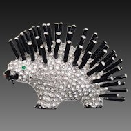 REJA (Unsigned) Black Enamel and Pave Rhinestones Porcupine Pin
