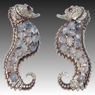 REJA 'Solomon Finkelstein' Sterling Moonstone Cabochons and Pave Rhinestones Left and Right-facing Pair of Sea Horse/Seahorse Pins