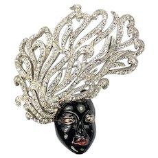 REJA Sterling Black Enamel and Pave Rhinestones 'Medusa' Pin