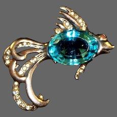 REJA Sterling Aquamarine and Diamante Fish Pin