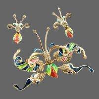 NETTIE ROSENSTEIN Rare Sterling Art Deco Enamel & Diamante Large Butterfly Clip/Pin and Clip Earrings Set