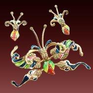 NETTIE ROSENSTEIN Sterling Art Deco Enamel & Diamante Large Butterfly Clip/Pin