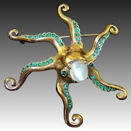 NETTIE ROSENSTEIN Sterling Opal and Emerald Octopus Pin