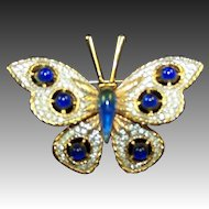 NETTIE ROSENSTEIN Sapphire Cabochon and Pave Butterfly Pin