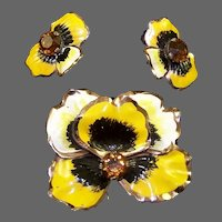 NETTIE ROSENSTEIN Sterling Enamel and Topaz Pansy Clip/Pin and Clip Earrings Set