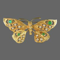 NETTIE ROSENSTEIN Chrysoprase Cabochons and Crystals Tremblant Butterfly Pin