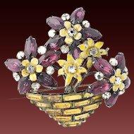SANDOR Sterling Amethyst and Topaz Crystals Yellow Enamel Flower Pot Pin