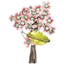 SANDOR Sterling Large Pink Enamel Peridot Green Rhinestones Floral Bouquet Pin