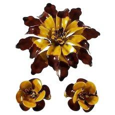 SANDOR Style Large Enamel Chrysanthemum Pin and Clip Earrings Set