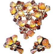 SCHIAPARELLI Molded 'Lava Rock,' Citrine and Topaz Rhinestones Pin and Clip Earrings Set