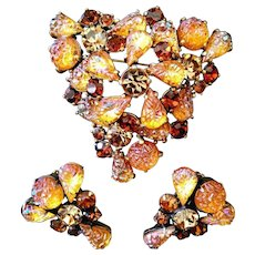 SCHIAPARELLI Molded 'Lava Rock,' Citrine and Topaz Rhinestones Pin and Clip Earrings Set