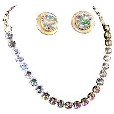 SCHIAPARELLI Tourmaline/Watermelon Aurora Borealis Crystal Necklace Clip Earrings Set