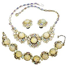 SCHIAPARELLI Fire Opal Cabochons and Aurora Borealis Crystals Necklace, Bracelet and Earrings Set
