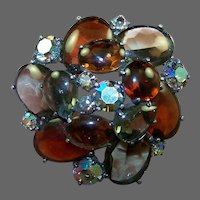 SCHIAPARELLI Massive Smoky Gray, Topaz and Aurora Borealis Crystals Domed Pin