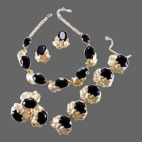 SCHIAPARELLI Jet Crystals and Gold Leaves Necklace, Bracelet, Pin and Clip Earrings Set