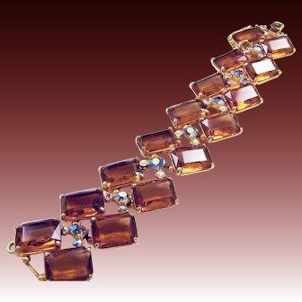 SCHIAPARELLI 1950's Topaz Chiclets and Aurora Borealis Crystals Wide Bracelet