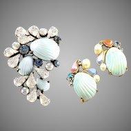 SCHIAPARELLI 1950's Iridescent Shell, Pearl and Aurora Borealis Pin and Clip Earrings