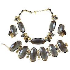 SCHIAPARELLI Oval 'Black Diamond' Citrine and 'Smoke Gray' Kite and Aurora Borealis Crystals Necklace, Bracelet and Clip Earrings Set