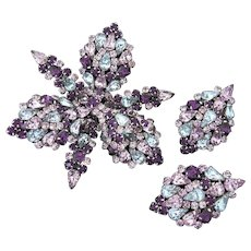 SCHIAPARELLI (Unsigned) Huge Amethyst and Lavender Crystals Orchid Pin and Clip Earrings Set