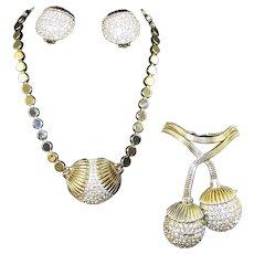 SCHIAPARELLI Deco Gold and Pave Diamante Pendant Necklace and Bracelet and Clip Earrings Set