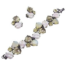 SCHIAPARELLI Iridescent Glass Leaves and Cabochons, Pale Citrine Bracelet and Clip Earrings Set