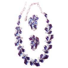 SCHIAPARELLI 1950's Sapphire Blue Kite and Aurora Borealis Crystals Necklace and Clip Earrings
