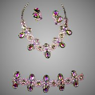 SCHIAPARELLI Tourmaline/Watermelon Aurora Borealis Crystal Necklace, Wide Bracelet and Clip Earrings