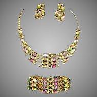 SCHIAPARELLI Tourmaline/Watermelon Aurora Borealis Crystal Necklace, Bracelet & Clip Earrings Set