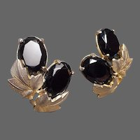 SCHIAPARELLI Jet Crystals and Gold Leaves Clip Earrings
