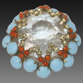 SCHREINER Large Domed Crystal and Turquoise and Coral Cabochons Pin