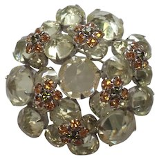 SCHREINER (unsigned) Large Citrine and Topaz Crystals Domed Pin