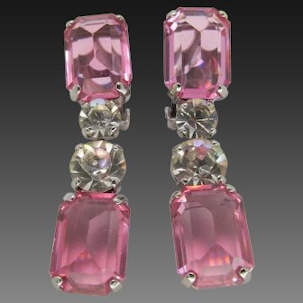 SCHREINER Pink Topaz and Diamante Crystals Pendant Clip Earrings