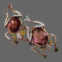 CORO Adolph Katz Enamel Amethyst and Pave Frogs Clips/Pins/Duette