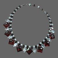 SCHREINER Ruby/Siam Red and Diamante Crystals Necklace
