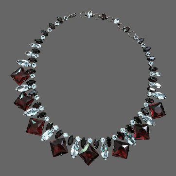 SCHREINER Ruby/Siam Red and Diamante Crystals Necklace