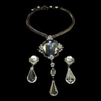 SCHREINER Necklace with Clear Lucite Cabochon and Crystal Drop Detachable Pendant/Pin