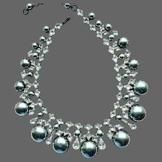 SCHREINER Verified (Unsigned) Platinum Gray Pearl and Diamante Crystals Necklace