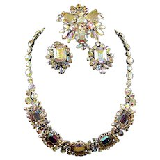 SHERMAN Aurora Borealis Necklace, Pin and Clip Earrings Set