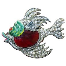 STARET Large Enamel Ruby Belly and Rhinestones Fish Pin