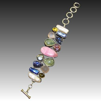STERLING Natural and Dyed Gemstone Cabochons Wide Bracelet