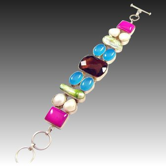 STERLING Polished and Dyed Gemstone and Cabochon Bracelet