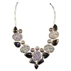 Sterling and Druzy Gemstones Necklace