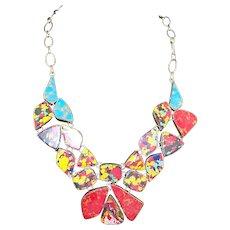 STERLING and Multi-color Confetti Matrix Stones Necklace